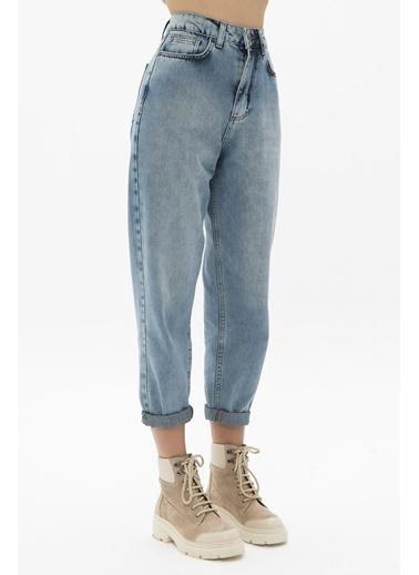 Female Project Mavi Yüksek Bel Mom Jeans Mavi